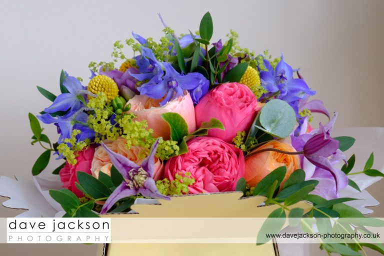 Colourful bridal bouquet in gift box