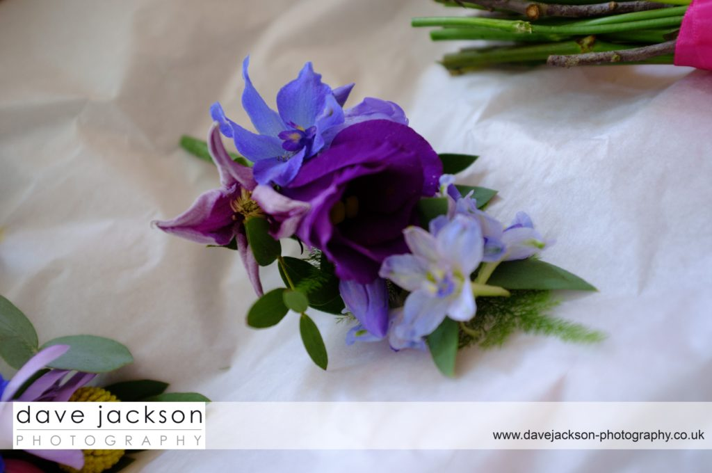 Blue and purple corsage