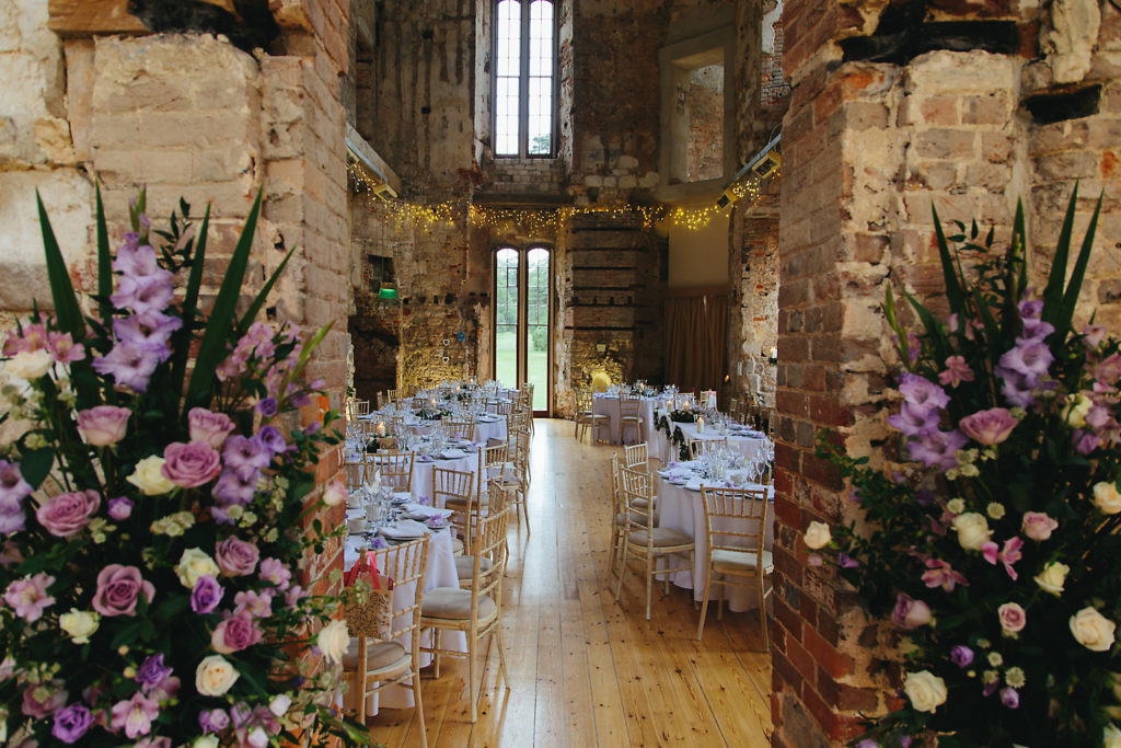 wedding reception flowers at Lulworth Castle