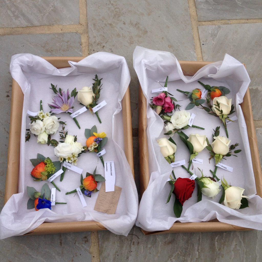 Colourful buttonholes and corsages