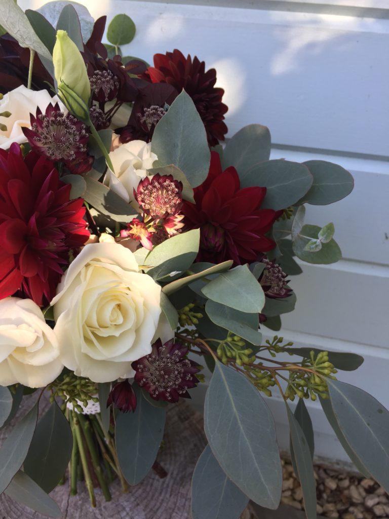 Autumn bridal bouquet with eucalyptus