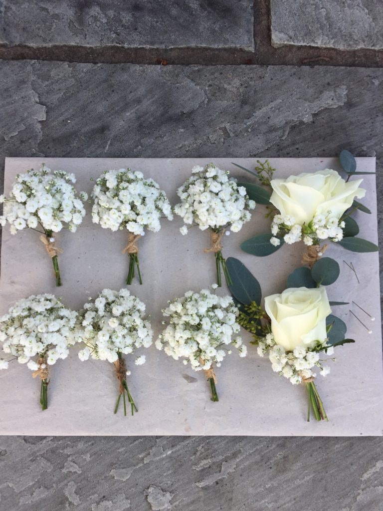 Gypsophila and rose buttonholes