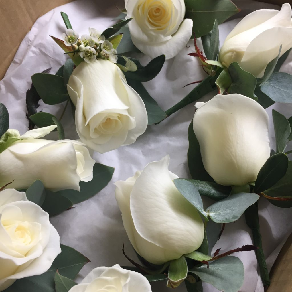 Group of white rose buttonholes