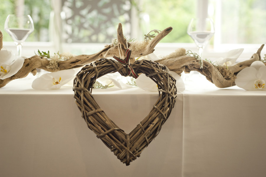 Wicker heart with flowers