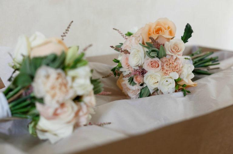 Peach flower bouquets