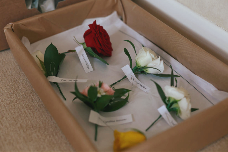 Wedding buttonholes in a box