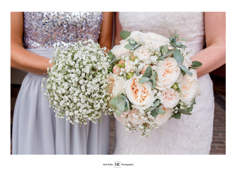 Bride and bridesmaids bouquet in blush and white flowers