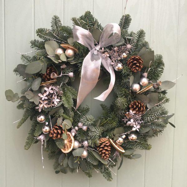 Silver handmade christmas wreath