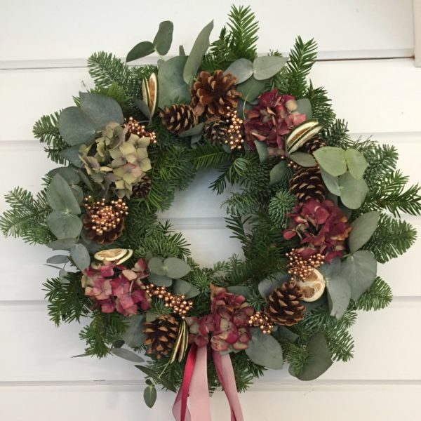 Handmade Christmas wreath in pink and copper