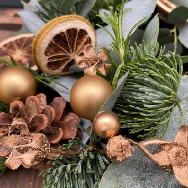 Christmas wreath in gold